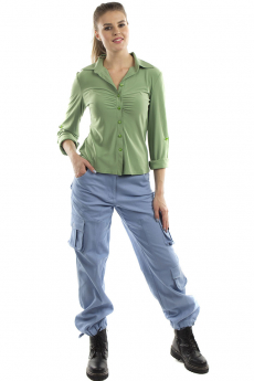 Голубые хлопковые брюки Bast