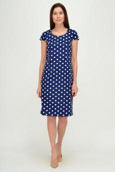 Темно-синее платье в горошек Viserdi