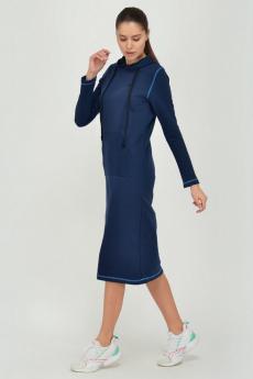 Темно-синее трикотажное платье с капюшоном Viserdi
